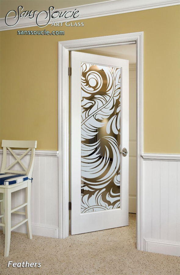 ... Interior Glass Doors Custom Glass French Decor Orbate Flourishes Soft  Feathers Sans Soucie