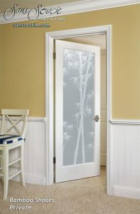 interior glass doors Etched Glass Asian Style trees leafy foliage Bamboo Shoots Sans Soucie