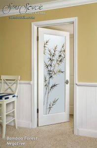 interior glass doors bamboo asian style design frosted glass