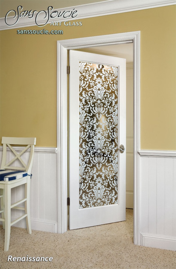 Renaissance Interior Doors W Glass Etching Victorian Decor