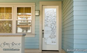 Bonsai Front Entry Doors with Glass Etching Asian Design