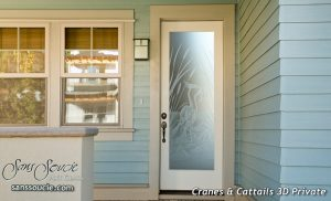 Exterior Glass Doors Etched Glass Asian Decor Nature Birds Cranes Cattails