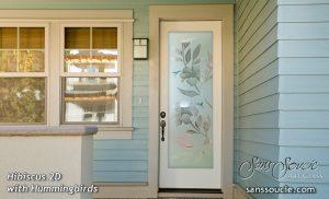 Glass Entry Doors Hibiscus 2D Misted Sans Soucie