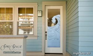 glass entry doors etched glass nautical decor oceanic waves