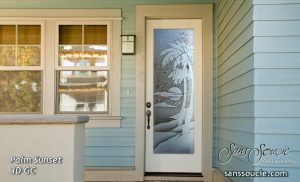 exterior glass door with etched glass beach decor design palm tree sunset
