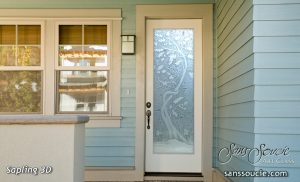 exterior glass door etched glass asian decor trees branches