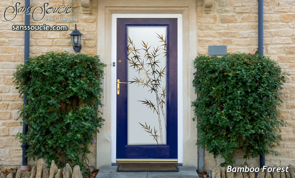Bamboo Forest Etched Glass Front Doors Asian Decor