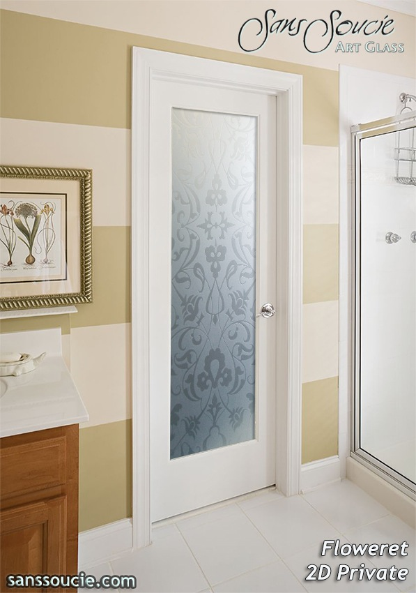 Decorative Floral Glass Shower Door Floweret 2D Private Pair Etched Glass Doors Victorian Style