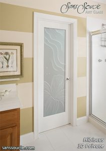 Bathroom Doors with Etched Glass Tropical Coastal Decor by Sans Soucie