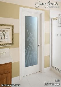 Interior Glass Doors Etched Glass French Style Iris Flowers English Country Decor