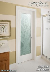 Interior Glass Doors Etched Glass Rustic Decor Oak Trees Country Decor