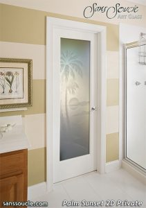 Interior Glass Doors Etched Glass Beach Decor Palm Trees Sunset Coastal Decor