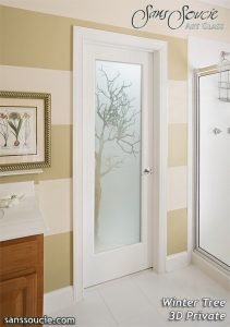 interior glass doors frosted glass rustic decor trees branches