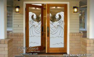 double entry doors frosted glass oceanic waves coastal decor sans soucie high seas