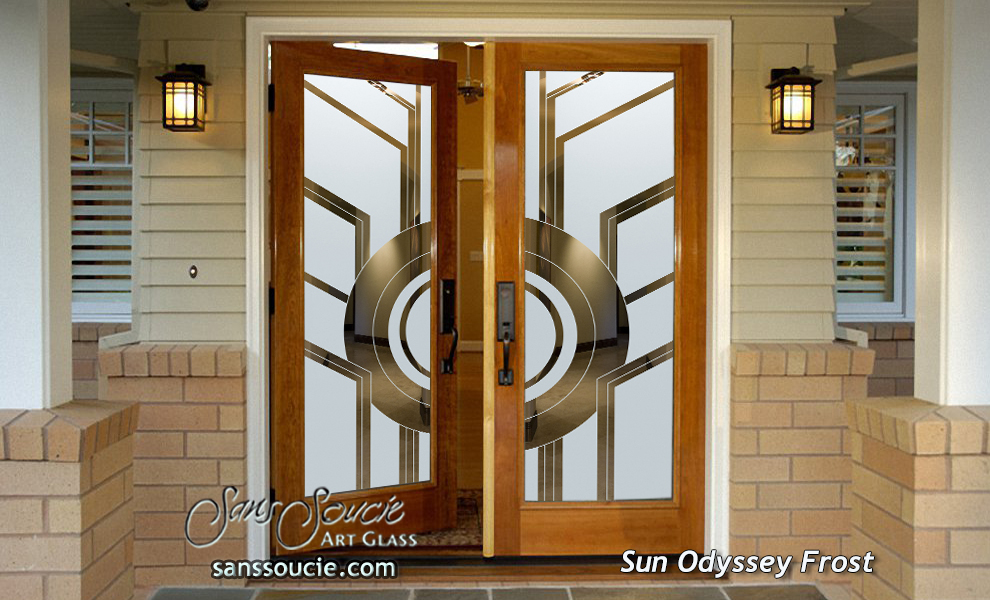... double entry doors glass etching circles linear geometric shapes art deco design sans soucie sun odyssey & Sun Odyssey Etched Glass Front Doors Art Deco Design