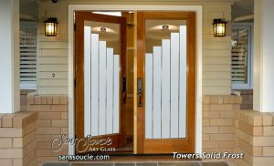 double entry doors etching glass contemporary decor geometric patterns rectangular towers sans soucie