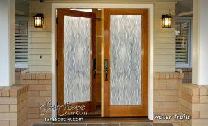 double entry doors custom glass linear flowing water mediterranean decor sans soucie water trails