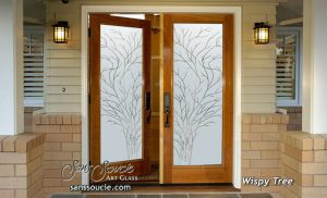 double entry doors custom glass thin branches wooden wispy tree sans soucie
