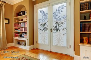 double entry doors etching glass nature branches tropical design sans soucie ferns
