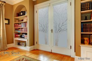 double entry doors etched glass designs nature branches foliage rustic decor sans soucie wispy tree
