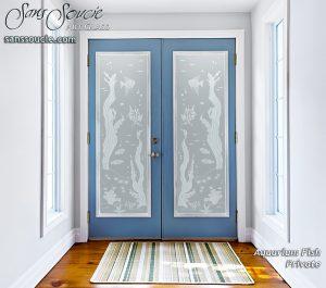 glass entry doors etched glass private beach style bubbles fish ocean Aquarium Fish Sans Soucie