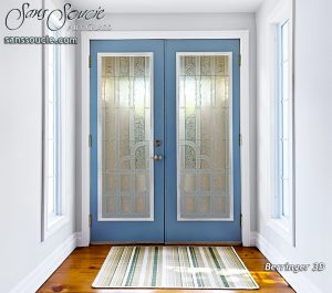 Double Entry Doors Etched Glass Art Deco Style Traditional Decor