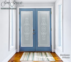 Double Entry Doors Frosted Glass French Design ornate flourishes Bordeaux Sans Soucie