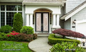 Sans Soucie Double Doors with Etched Glass Tuscan Decor