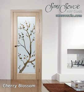 interior doors with glass etching frosted cherry blossom tree asian style sans soucie