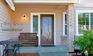 Exterior Glass Doors Etched Glass Rustic Decor Branches Western Decor