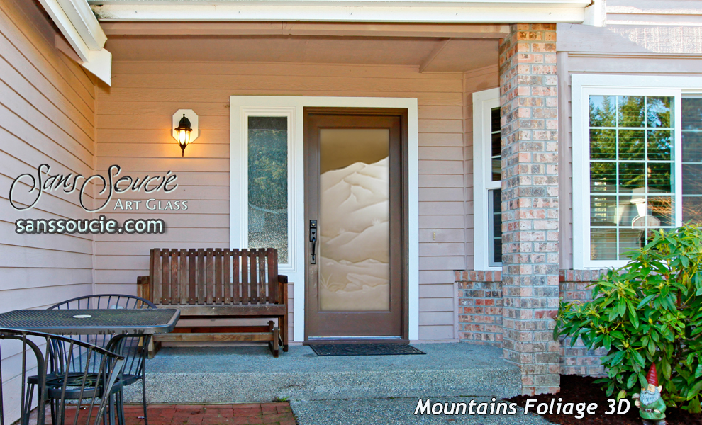 Glass Entry Doors Etched Glass Western Decor Mountains Foliage