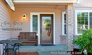 Glass Entry Doors Etched Glass Beach Decor Palm Trees Sunset Coastal Decor Tropical