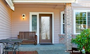 Exterior Glass Doors Etched Glass Tropical Decor Wispy Reeds Foliage