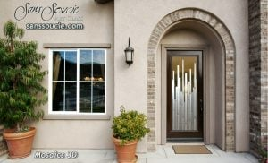 exterior glass doors custom etched glass vertical lines modern style