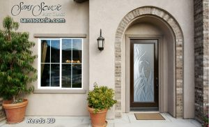 front doors with glass custom glass etching tropical tall reeds sans soucie