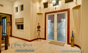 double entry doors with glass glass etching tropical decor leaves overlapped sans soucie