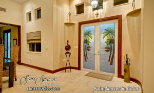 Double Entry Doors Etched Glass Beach Decor Palm Trees Sunset Coastal Decor Tropical