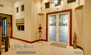 western decor style glass front doors etched glass desert scene