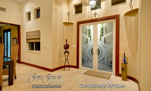 Double Entry Doors Etched Glass Modern Design Art Deco Style Geometric