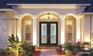 exterior glass doors etched glass tropical decor hibiscus flowers beach coastal