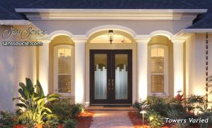 Double Entry Doors Etched Glass Modern Design Geometric Contemporary Art Deco Style
