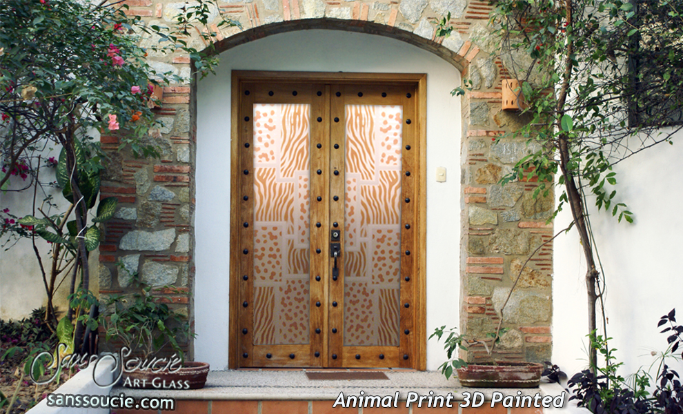 Door Glass Inserts Cheetah u0026 Zebra Pattern Sans Soucie & Cheetah u0026 Zebra Pattern Door Glass Inserts Sans Soucie pezcame.com