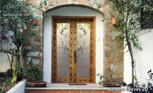 Double Entry Doors Etched Glass Tropical Decor Banana Leaves Foliage