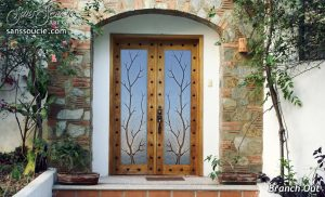 Glass Entry Doors Etched Glass Rustic Decor Branches Western Decor