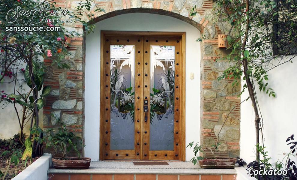 Cockatoo In Paradise 2d Glass Door Inserts Sans Soucie