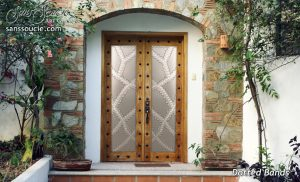 Glass Door Insert Pairs Carved and Etched Moroccan Pattern by Sans Soucie