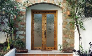 exterior glass doors rustic decor cast glass double doors rock pattern