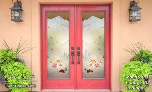 Glass Entry Doors Mountains Foliage 3D Sans Soucie