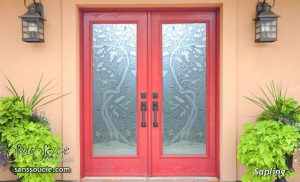 double entry doors etched glass asian decor trees branches