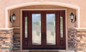double exterior glass doors sandblasted glass rustic style hills